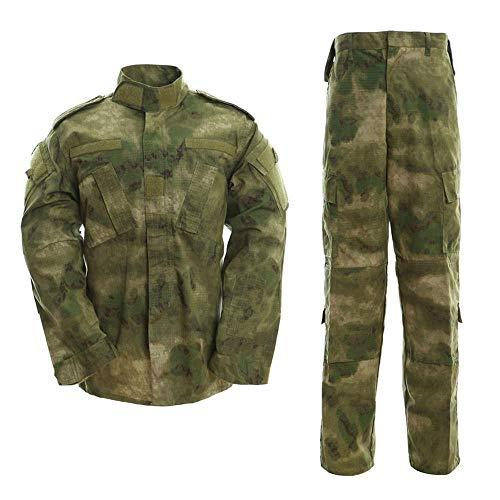 QAZW Langärmliger Tarnanzug für Outdoor-Sportarten mit Armeefan für Herren Taktische Kleidung Hemd Militärhemd Outdoor Military Shirt D-XL