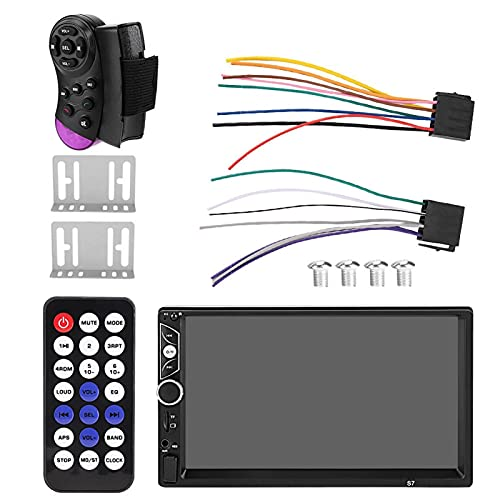 Coche Reproductor Bluetooth, Pantalla de 7'Doble Din Coche Estéreo Reproductor MP5 Radio FM Bluetooth 4.0/USB/AUX/Tarjeta TF Control Remoto FM Banda Única 1024 * 600