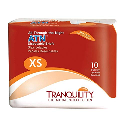 Tranquility ATN Adult Disposable Incontinence Briefs, Refastenable Tabs, with All-Through-The-Night Protection, XS (18-26) - 10 ct