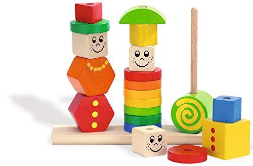 Eichhorn Holz Figuren Steckpuzzle, 20-teilig - 3 Stecksäulen mit Steckteilen, hochwertiges Buchenholz ,Made in Germany, für Kinder ab 12 Monaten