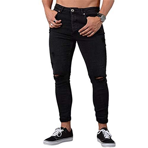 WanYangg Hombre Skinny Vaqueros Desgarrados Jeans Largo Slim Fit Cremallera Casual Rajados Mezclilla Vaquero Pantalón Rotos Masculinos Moda Flaco Rodilla Ripped Denim Pantalones Negro 4XL