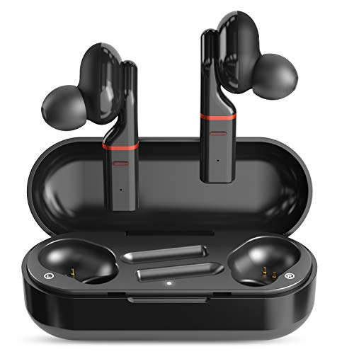 SimpTronic True Wireless Earbuds Bluetooth 5.0 Headphones in-Ear TWS Mini Headset for Sport Deep Bass Stereo Earphones HD Sound Waterproof Noise Cancelling Mic 30 Hours Playtime Black