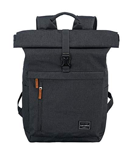 Travelite Handgepäck Rucksack mit Laptop Fach 15,6 Zoll, Gepäck Serie BASICS Daypack Rollup: Praktischer Rucksack mit Rollup Funktion, 096310-05, 60 cm, 35 Liter, anthrazit