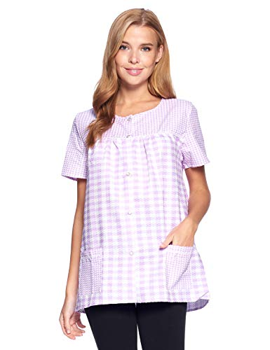 Casual Nights Women's Snap Front Smock Cobbler Woven Scrub Apron Top with Pockets - Purple Plaid - XX-Large