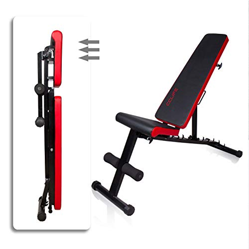 CCLIFE Banco de Musculación Multiposición Banco de Fitness o de Abdominales Ajustable,Plegable y Resistente a una Carga máxima de 600 kg, Color:Negro-021