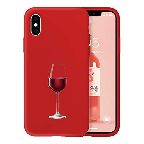 Oihxse Case Compatible coniPhone SE 2020/iPhone 7/iPhone 8 Funda Silicona Matorral TPU Suave Protector Carcasa Ultra Delgada Moda Linda Patrón Anti-Rasguño Caso Bumper Cover(Rojo-Copa de Vino)