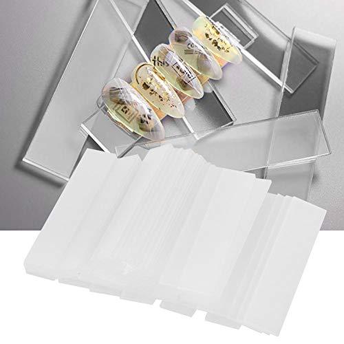 Support de présentoir d'art d'ongle, 50pcs réutilisable autocollant acrylique transparent faux ongles présentoir pour tableau de couleur des ongles