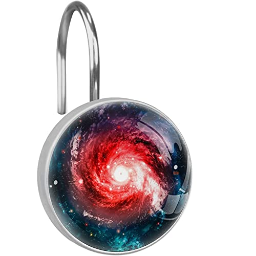 Galaxy Nebulae Space Shower Curtain Hooks, Art Decorative Curtain Rings, Rust Resistant Metal Hooks for Bathroom