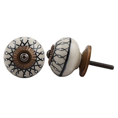 IndianShelf - Tiradores de cerámica hechos a mano con hojas para cajón, puerta de cocina, armario de cocina (3,81 cm, negro, 2 piezas)