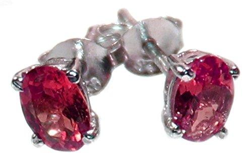 rosa Turmalin Ohrstecker facettiert in 925er Silber Krappenfassung, rosa Turmalinohrringe