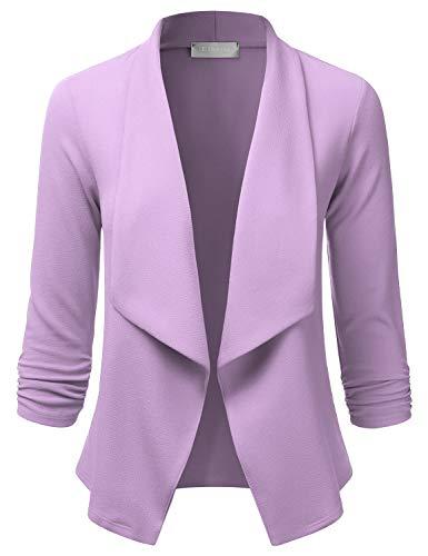 EIMIN Women's 3/4 Sleeve Blazer Open Front Office Work Cardigan Jacket Lavender 1XL