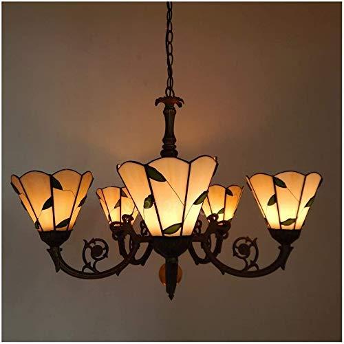 DIMPLEYA 5-arm-falllicht Im Tiffany-Stil, Glaspendelleuchte Mit Buntglas Von Hand Gefertigt, Home Decor