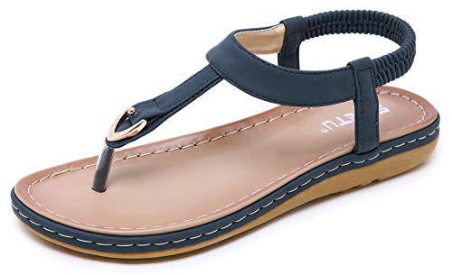Lady Boho Simple T-Strap Flat Sandal Navy Blue Glitter Thong Shoes True to Size Beach Wedding Cruise Vacation Summer Match Compliment Comfy Walking Support Street Gladiator Slip On Durable Flip Flop