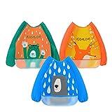 3 Paquetes Babero con Mangas Impermeable Baberos de Alimentación para Bebés...