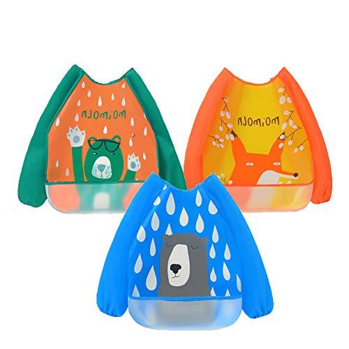 atopo 3 Paquetes Babero con Mangas Impermeable Baberos de Alimentación para Bebés con Mangas Largas Delantal Lavable del Bebé por 6-36 Meses Niños Comiendo Pintura y Jugando