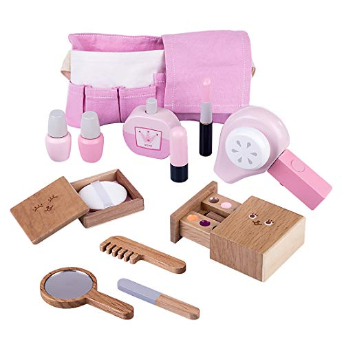 K9CK Kit de Peluqueria para Niñas, Maquillaje de Madera Secador de Pelo Juguetes Caja de Accesorios de Peluquería Maquillaje Niñas 2 Años - Rosado