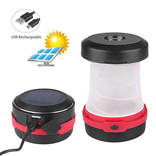 Anyshop ソーラーランタン LEDランタン USB充電式 3点灯モード ポップアップ式 高輝度 懐中電灯 モバイルバッテリー機能 キャンプ 登山 夜釣り アウトドア用品 防災対策