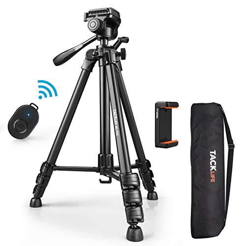 Dreibeinstativ, TACKLIFE Kamera Stativ 150cm, Maximale Tragkraft: 5kg, 360° Schwenkbar, Handy Stativ mit Bluetooth-Fernbedienung, 1/4'' Schraubhalterung, Tasche