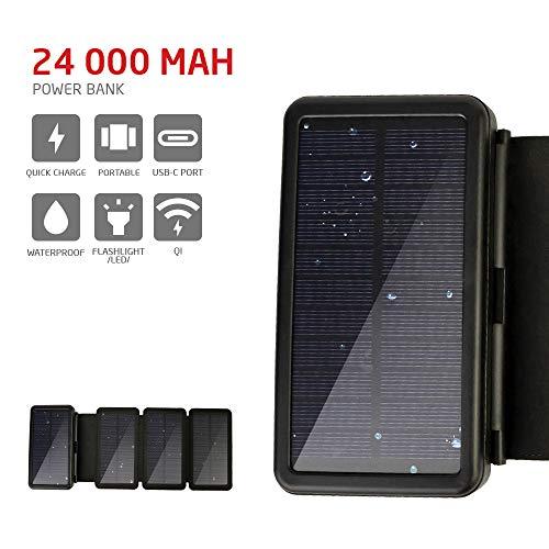 PowerLocus Solar Power Bank - [4 effiziente Solarpanels] 24.000mAh Wasserdichtes Solar Ladegerät für den Notfall, tragbare Type-C Wireless Power Bank Externer Akku für Smartphone/Tablet/iPhone/Samsung