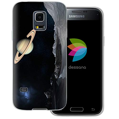 dessana Universum transparente Schutzhülle Handy Case Cover Tasche für Samsung Galaxy S5 Mini Weltraum Saturn