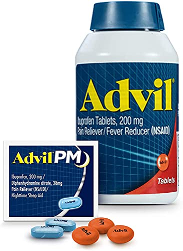 Advil Pain Reliever and Fever Reducer, Ibuprofen 200mg for Pain Relief - 300 Count, Advil PM Pain Reliever and Nighttime Sleep Aid, Ibuprofen for Pain Relief and Diphenhydramine Citrate - 2 Count