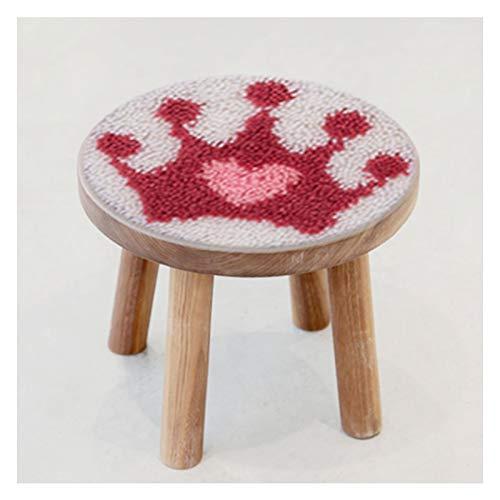 Cojín pequeño Redondo, Kits de Gancho de latchkits para niños con Crochet Costura de Costura Matera de Piso Shaggy Kits de pestillo de Bricolaje para Adultos/niños, sin incluir Taburete de 10.6 pulg