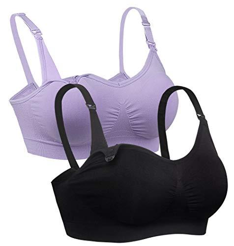 iloveSIA LOT 2 Soutien Gorge sans Armature Allaitement Confortable Violet+Noir+Sac à Lavage+Coussinets M