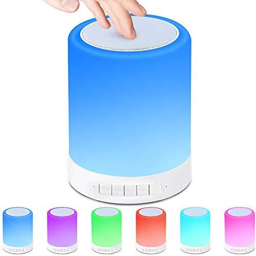 Nachttischlampe mit Bluetooth-Lautsprecher, LED Smart NachtLicht Berührungssensor Nachtlicht Nachttischlampe, 7 Farbwechsel Dimmbaresmit für Camping, Romantische Geschenke (L)