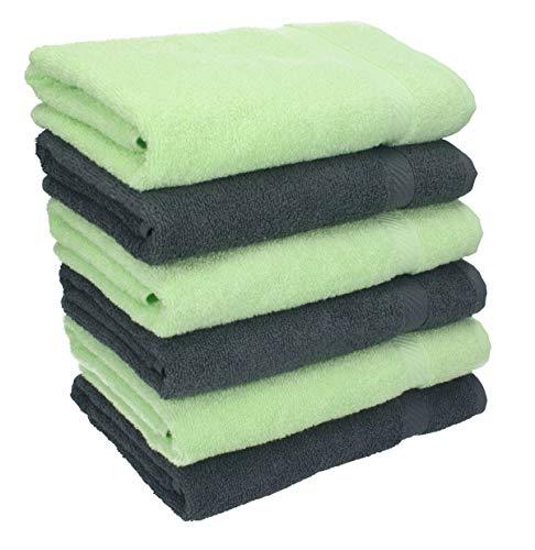 Betz Lot de 6 Serviettes de Toilette Taille 50x100 cm 100% Coton Palermo Couleur Vert et Anthracite