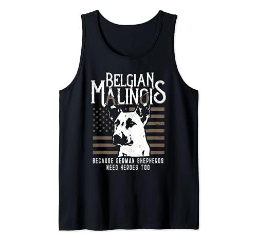 Blgica Malinois Bandera Americana Polica de Pastor Alemn K9 Art Camiseta sin Mangas