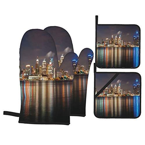 Guanti da forno e presine set di 4,moderno paesaggio urbano di metropoli di notte fiume Detroit...