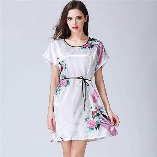 QND Winter Roben Lady Velvet Kimono Bademantel Kleid Winter Sexy Frauen Nachtwäsche Nachthemd Casual Velour Solid Nachtwäsche Nachthemd 2 PCS Robe Set, Weiß, M.