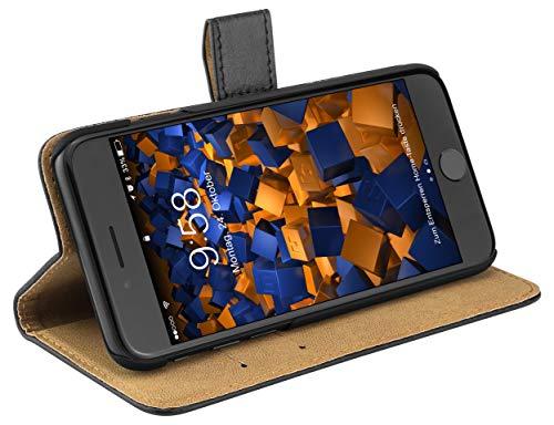 mumbi Echt Leder Bookstyle Hülle kompatibel mit iPhone SE 2 2020 / 7 / 8 Hülle Leder Tasche Hülle Wallet, schwarz