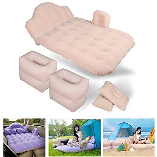 Cajolg Luchtmatras Camping isomat luchtbed 1 persoons, auto opblaasbaar bed met opblaasbare kruk, kussen, luchtpomp matras