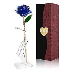 Gomyhom Rose, 24k Gold Rose Handgefertigt Konservierte Rose - mit Geschenkbox für Frau Freundin Oma/Valentinstag/Muttertag/Geburtstag/Hochzeitstag/Weihnachten/Jahrestag/Künstliche Rose
