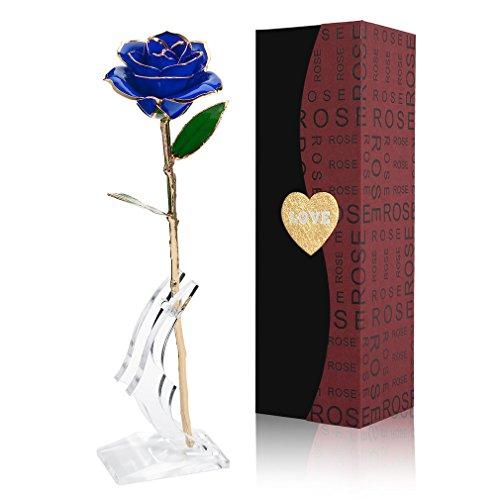 Gomyhom Rose, 24k Gold Rose Handgefertigt Konservierte Rose - mit Geschenkbox für Frau Freundin Oma/Valentinstag/Muttertag/Geburtstag/Hochzeitstag/Weihnachten/Jahrestag/Künstliche Rose (Blau)