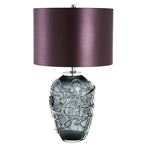 OMING Table Lamps Table Lamp Creative Glass Fabric Lampshade Decoration Bedside Lamp Bedroom Living Room Study Button Switch Lighting Night Light Crystal Table Lamp (Color : A)