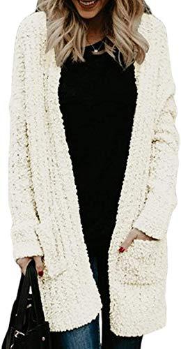 Sweter Damskie Casual Cardigans Panie Z Długim Rękawem Otwórz Front Cardigan Lekki żakiet Zwoleniem z kieszeniami Cardigans Lztly (Color : White, Size : S)