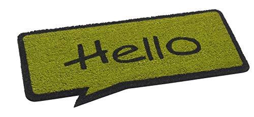 Fußmatte / Fussmatte / Schmutzabstreifer / Sauberlaufmatte / Türfußmatte / Fußabstreifer / Fussabstreifer / Fussabtreter / Fußabtreter / Türmatte / Motivfußmatte / Motivfussmatte Kokos Matte / Kokosmatte Cartoons Sprechblase Hello grün lime limette 40 x 70 cm
