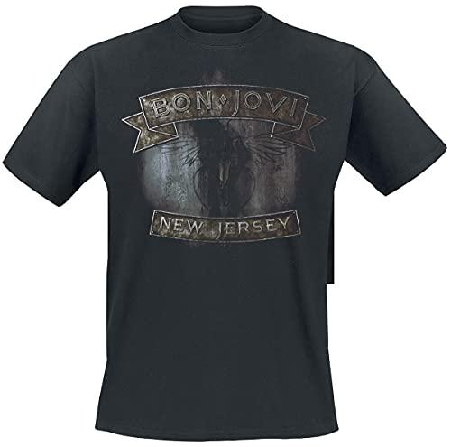 Bon Jovi New Jersey Negro Camiseta Oficial Con Licencia Música, Negro, XX-Large 122cm Chest