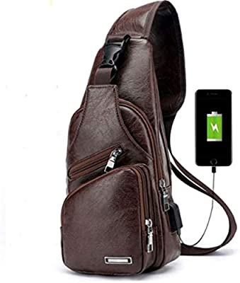 JWQ Chest Bag Men's Leather PU Sling Bag Multipurpose Daypack Shoulder Chest Crossbody Bag with USB Charging Port Dark Brown