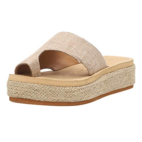 WHSHINE Womens Flatform Espadrilles Sandalen, Post Toe Flip Flop Sandalen, Clip Toe Plateau Pantoletten Sommer Wedge Beach Schuhe