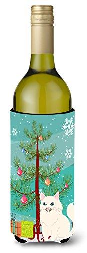 Caroline's Treasures BB4413LITERK Turkish Angora Cat Merry Christmas Tree Wine Bottle Beverge Insulator Hugger, Wine Bottle, multicolor