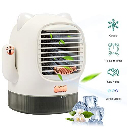 Mobile klimageräte,Lureshine Air Cooler, 3 in 1 Luftkühler Leise Ventilator Nachtlicht, USB mini luftkühler mit wasserkühlung,3 Kühlstufen,3 Dimmstufe,400ML Wassertank,Ideal für Arbeitsplatz Daheim