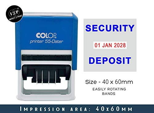 IMPACT2PRINT Colop Printer 55 Self Inking Dater Stamp with Security Deposit Text Custom Business Stamp Office Stationary