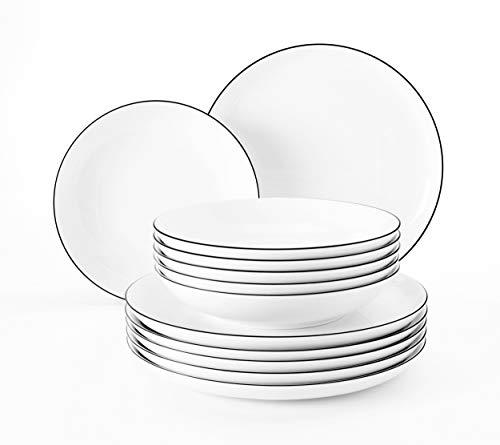Seltmann 001.749690 Coup Fine Dining Lot de 6 assiettes plates en porcelaine Motif poisson Bleu 21,5 cm