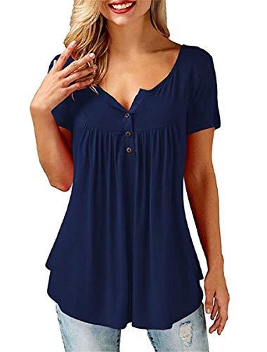 UMIPUBO Bluas de Mujer Camisa Algodón Blusa Mujer Elegante Manga Corta Camisa Suelta Mujer Casual Verano Shirts (Armada, L)