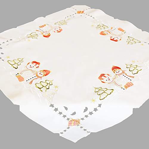 Kamaca Tischdecke/Mitteldecke 85x85 cm wundervolle weihnachtliche Stickerei Schmuckstück in Winter Weihnachten (Schneemann)