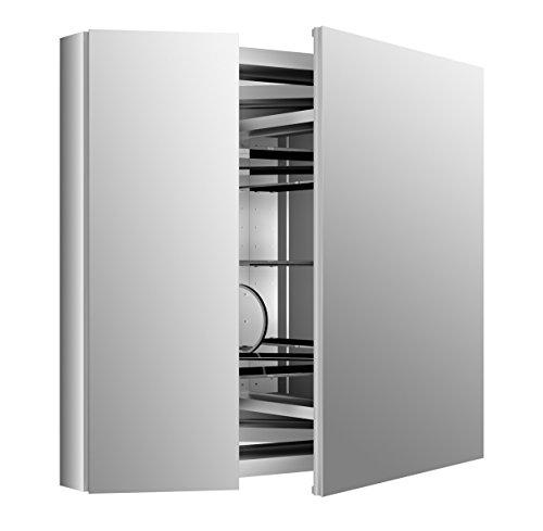 """KOHLER K-99009-SCF-NA Aluminum Verdera Medicine Cabinet with Adjustable flip-Out Flat Mirror, 34"""" W x 30"""" H"""