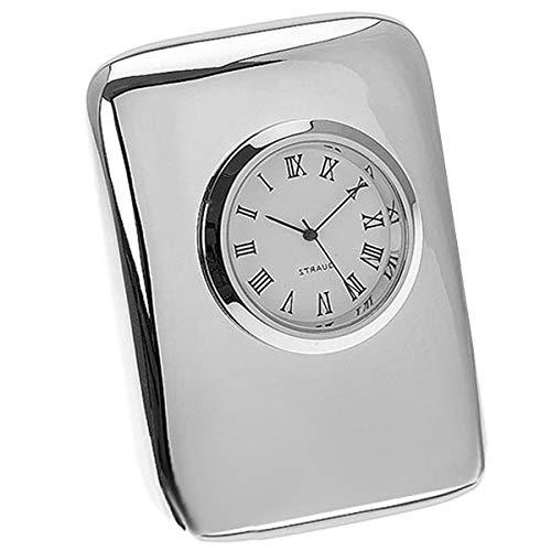 silberkanne Elegante reloj de mesa sin tictac, 7,2 x 5,2 cm, chapado en plata, acabado de primera calidad